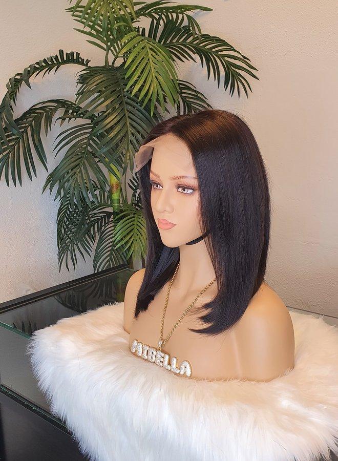 "6x6 Closure Wig Remy Straight Hair 12"""