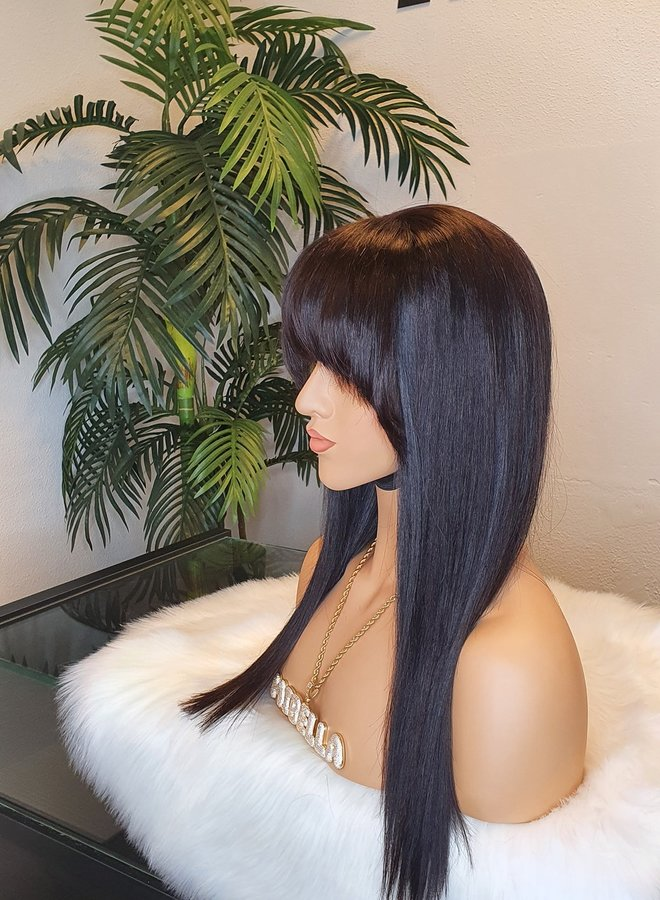 """Closure Wig Remy Straight Hair 16"""""""