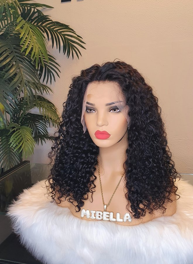 """Frontal Wig Curly Remy Hair 16"""" 350 gram"""