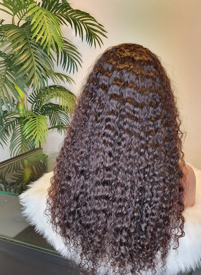 """HD Closure Wig Curly Remy Hair 24"""""""