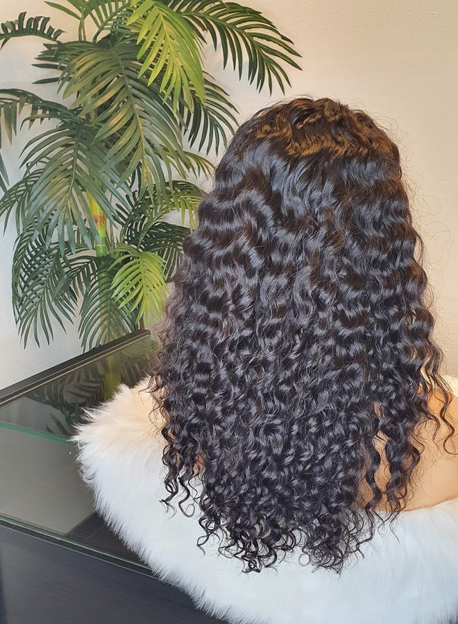 """Frontal Wig Curly Remy Hair 16"""" Dome Cap"""