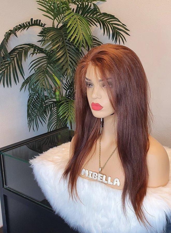 "Tweedehands   HD Raw Indian Frontal Wig Brown Colored 16"""