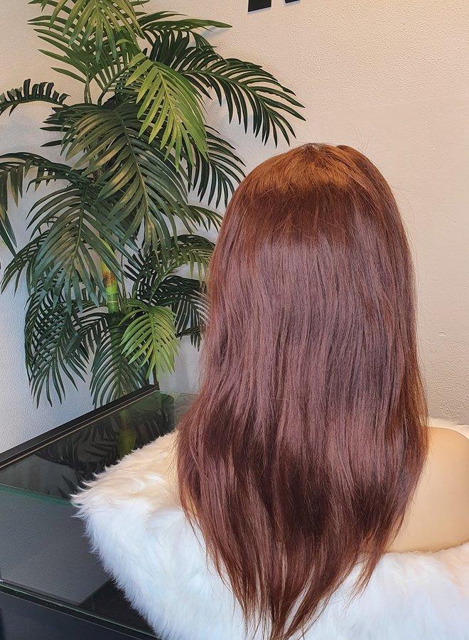 "Tweedehands   Raw Indian Frontal Wig Brown Colored 16"""