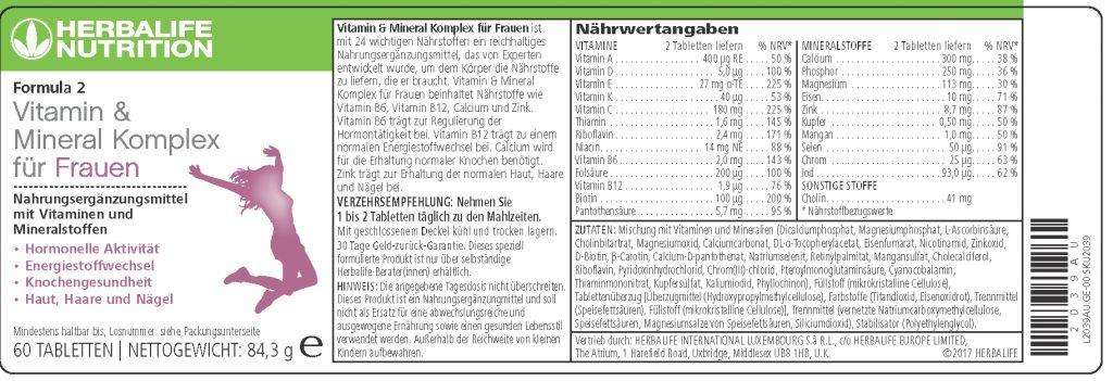 Vitamin & Mineral Complex Donna - Herbalife Formula 2