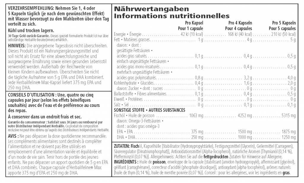 Ácidos grasos omega-3 EPA y DHA - Herbalife Herbalifeline Max
