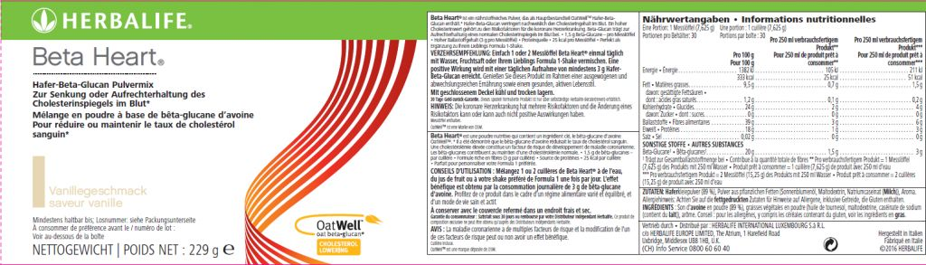 OatWell™  beta-glucano d'avena - Herbalife Beta Heart®
