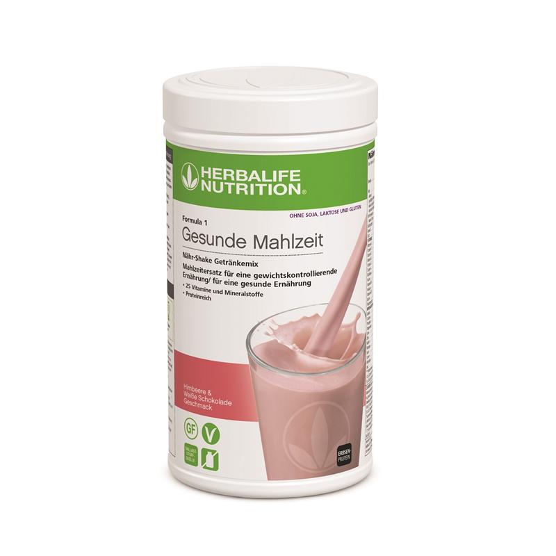 Batido Herbalife Fórmula 1 frambuesa y chocolate blanco - sin gluten, lactosa ni soja