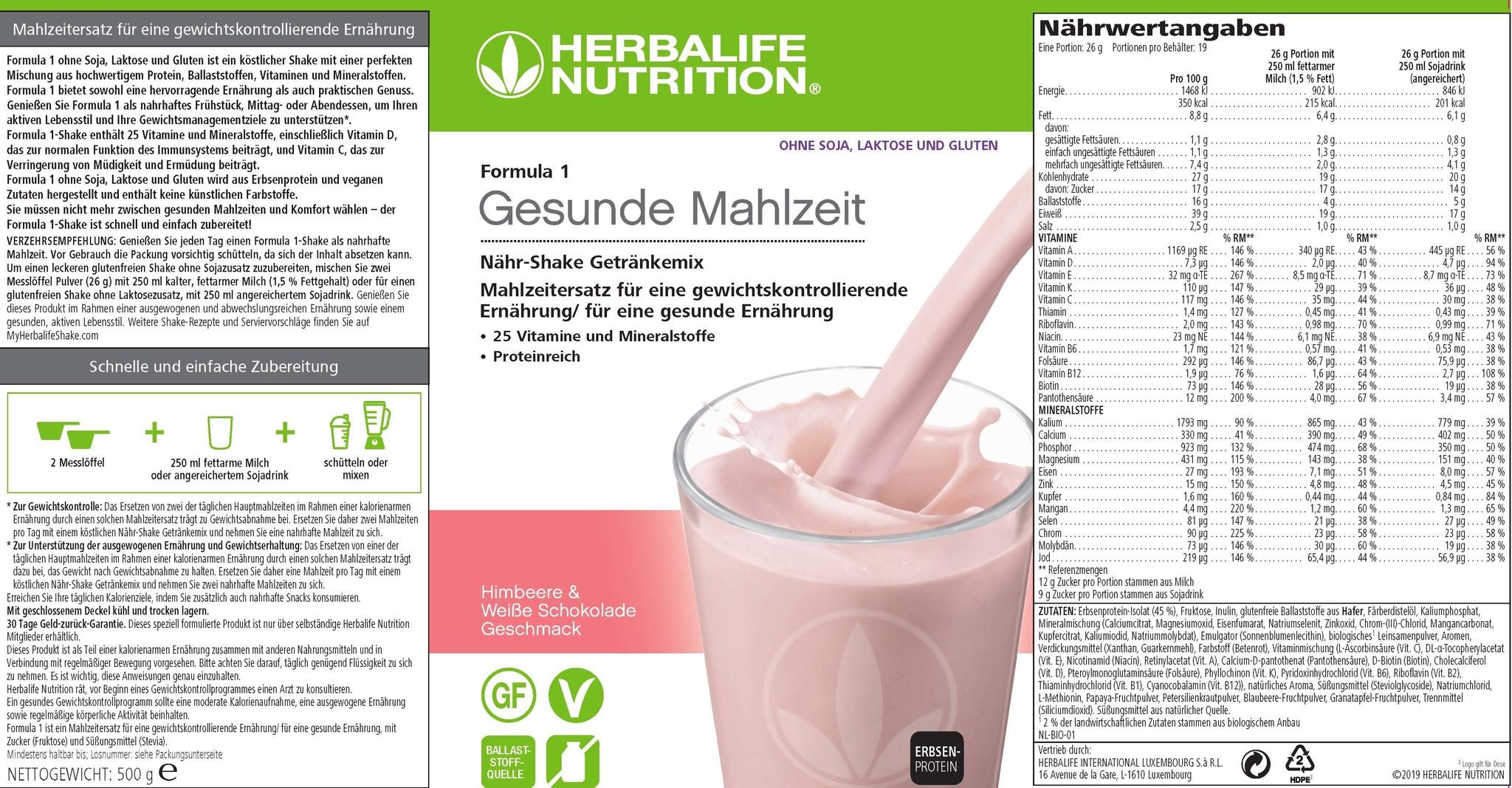 Herbalife Formula 1 Lampone e cioccolato bianco – Free From - Senza lattosio glutine soia