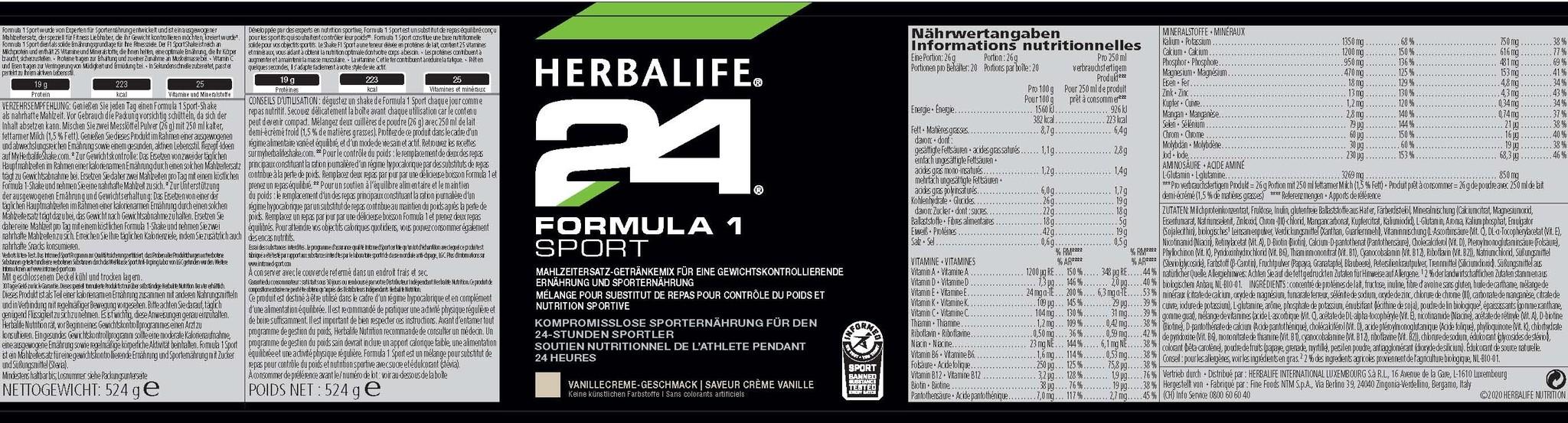 Herbalife 24 - Formula 1 Pro Vaniglia Crème