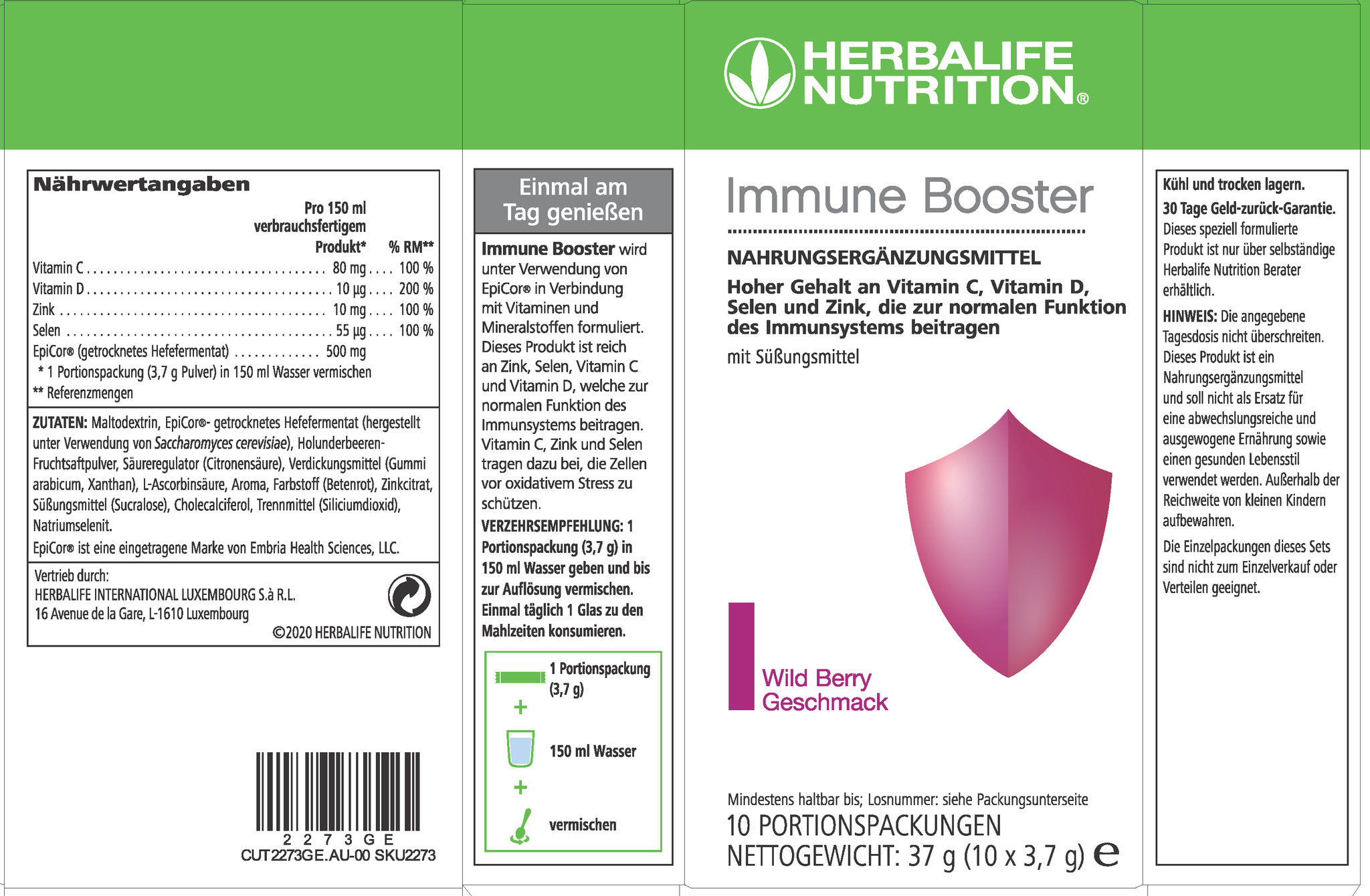 Herbalife Immune Booster - sabor a frutos silvestres - Contiene EpiCor®