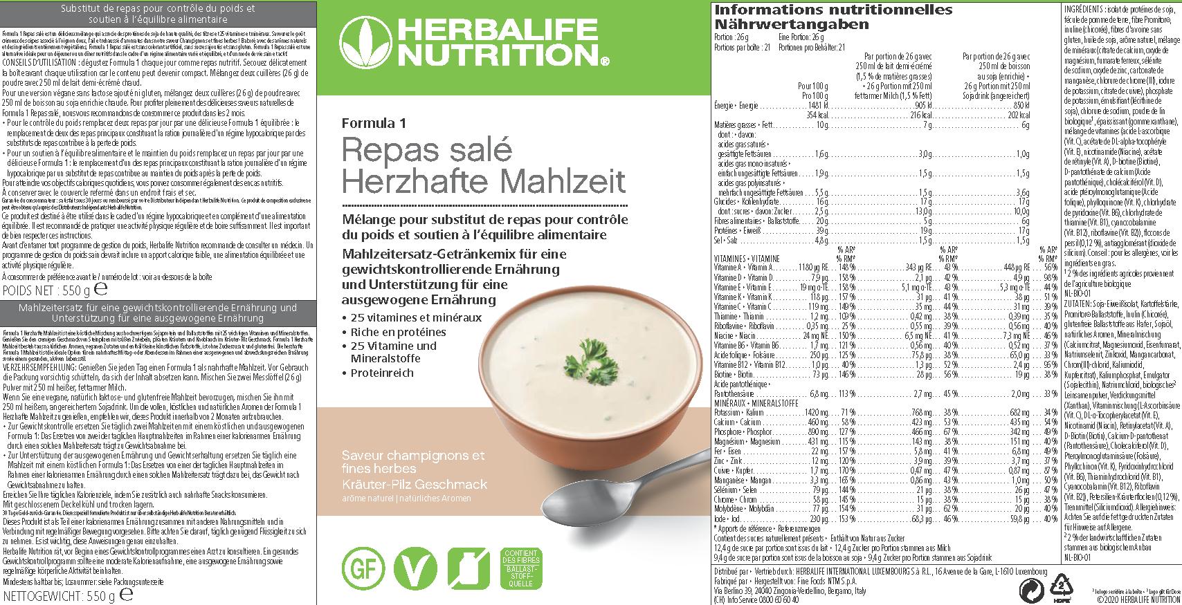 Herbalife Formula 1 Gourmet - pasto Gusto crema di funghi