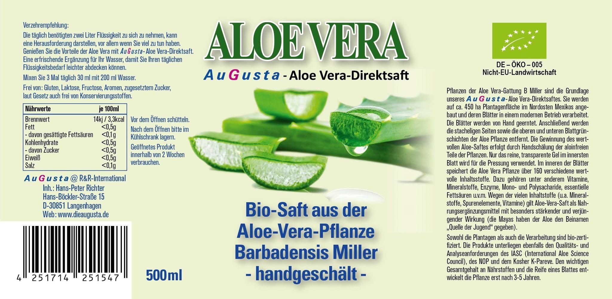 AuGusta Premium Aloe-Vera Bio-Direktsaft 500ml