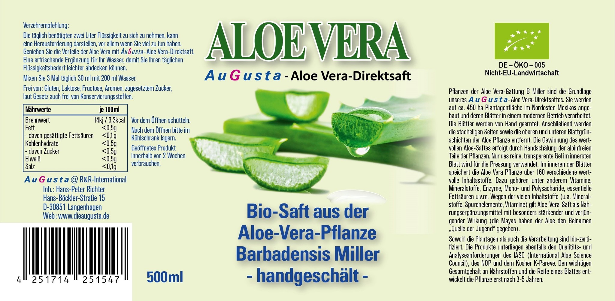 AuGusta Zumo de Aloe Vera ecológico 500ml