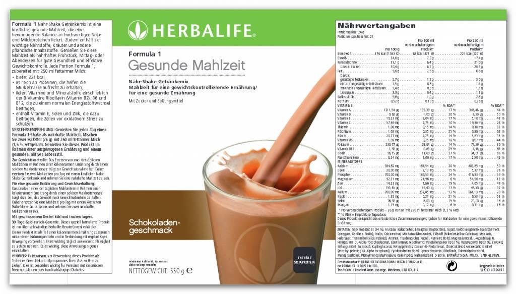 Herbalife Formula 1 Nähr-Shake Getränkemix - Schokolade
