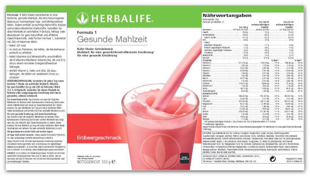Herbalife Formula 1 Nähr-Shake Getränkemix  0143 - Erdbeere