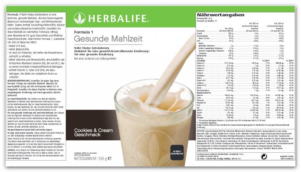Herbalife Formula 1 Nähr-Shake Getränkemix 0146 - Cookies & Cream