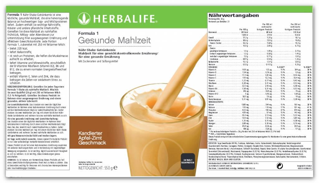 Herbalife Formula 1 Nähr-Shake Getränkemix - Apfel-Zimt