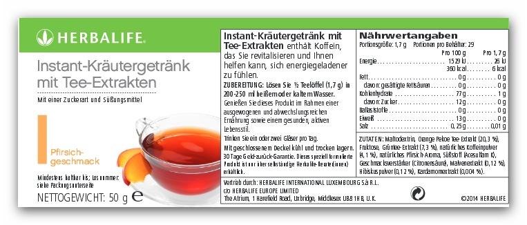 Herbalife Koffeinhaltiges Instantgetränk mit Tee-Extrakten – Pfirsich
