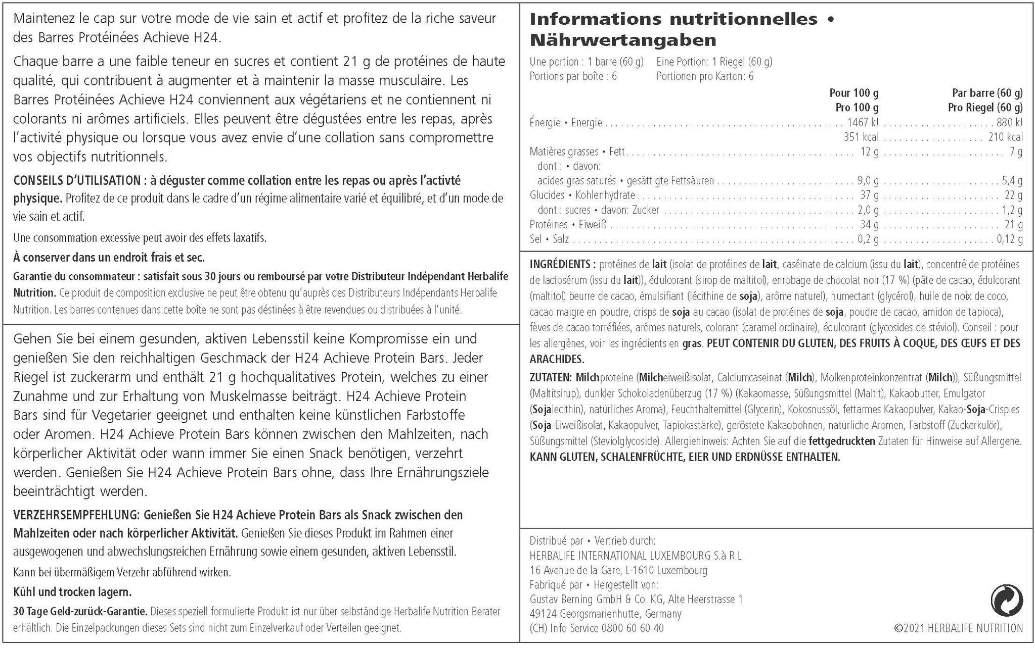 Herbalife 24 - Barritas de Proteínas Achieve