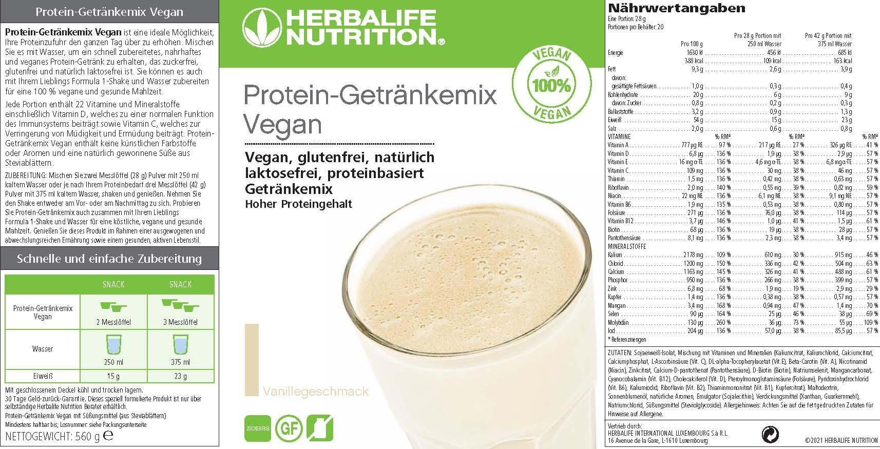 Herbalife Protein-Getränkemix Vegan - Vanillegeschmack