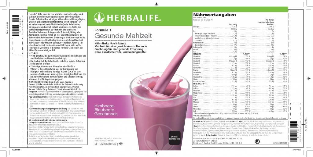 Herbalife Formula 1 Nähr-Shake Getränkemix - Himbeere-Blaubeere