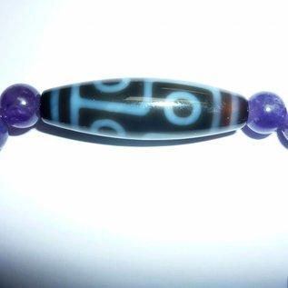 """Amethyst-Armband mit Dzi """"6 Augen"""" für langes, gesundes Leben"""