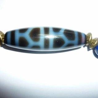 Armband Lapis Lazuli mit Dzi-Perle Schildkröte für Balance von Yin & Yang