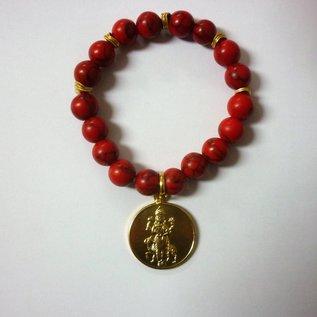 Armband rote Korallen mit Jantra und Abbild des Mars