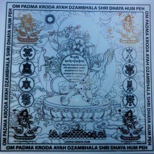 Laminierte Tafel weisser Dzambhala für Reichtum, ca. 19x19cm