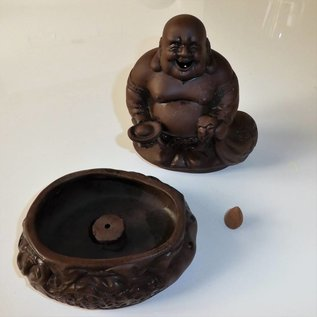 Керамическая фигура смеющегося Будды для благовоний 18 Х 10 см