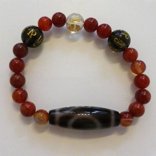 Achat-Armband mit Dzi-Perle ein Auge für Sicherheit, Selbstverwirklichung und Weisheit