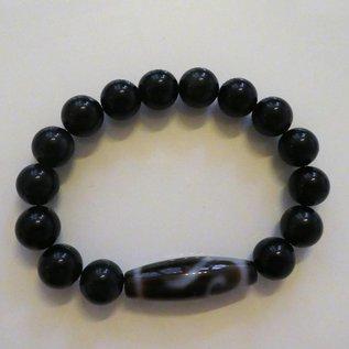 """Armband Obsidianmit Dzi """"goldener Schlüssel"""" für materiellen Wohlstand."""