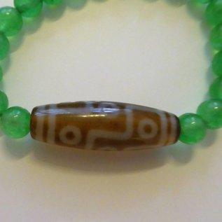 """Armband Jade mit Dzi """" 9 Augen """" , für gute Geschäfte und Wohlstand"""