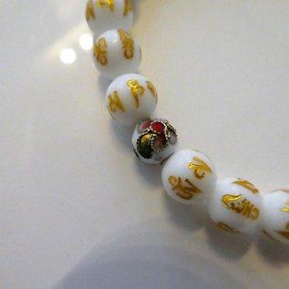 """Armband Turmalin mit Achat-Perlen und Mantra """" OM MANI PADME HUM"""""""