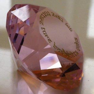 Kristall mit Mantra der Göttin Tara für Liebe und tiefe Gefühle - rosa d=60mm