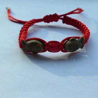 rotes Armband 2 Karpfen mit Blüte, verstellbar