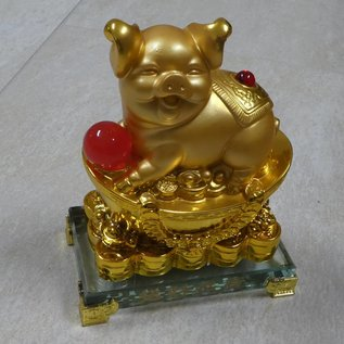 Goldenes Glücksschwein auf Goldbarren, ca.15x9x19cm