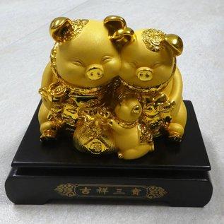 Goldenes Glücksschwein auf Goldbarren, ca.15x9x19cm - Copy