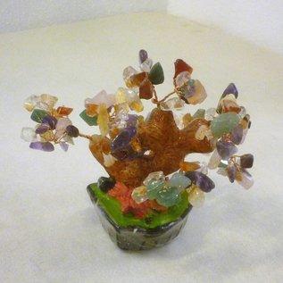 Baum mit verschiedenen Kristallen für Bildung und Harmonie , ca.16cm
