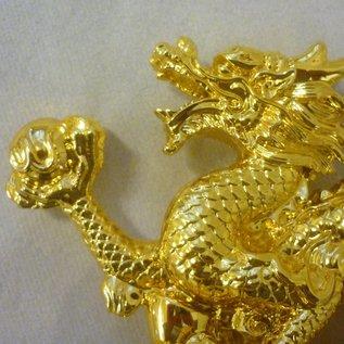 Goldener Drachen mit Kugel für Kraft unf Erfolg ca. 22x13x6cm