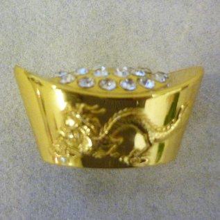 Edelsteinbesetzter Goldbarren mit Drache und Phönix, ca. 4,5x3,5cm