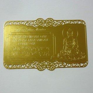 Herz Sutra Mantra auf Goldkarte gedruckt (8x5,5cm)