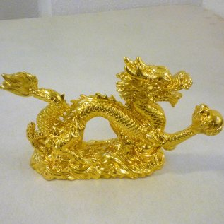 Goldener Drachen mit Kugel für Kraft unf Erfolg ca. 15x9x3,5cm - Copy