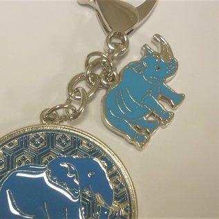 Nashorn und Elefant Amulett gegen Diebstahl und Raub , ca. d=5,3cm