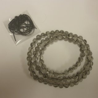 Black Rutilated Quartz 3-Round Bracelet 6mm