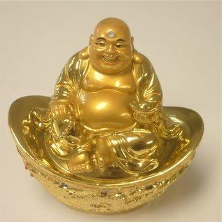 lachender Buddha auf Goldbarren ca.9x6x10cm
