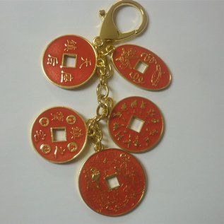 5 Protection and blessing coins keychain , d=5cm (14cm)