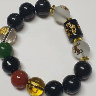 Feng Shui Armband Obsidian 5 Elemente , Reichtum und Glück