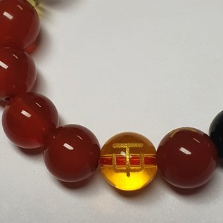 Feng Shui bracelet obsidian 5 elements wealth and luck - red