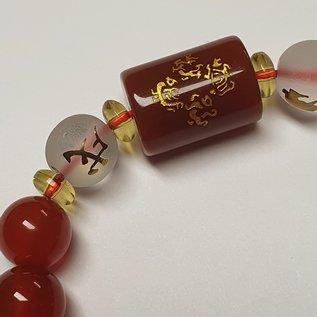 Feng Shui Armband Obsidian 5 Elemente , Reichtum und Glück - rot